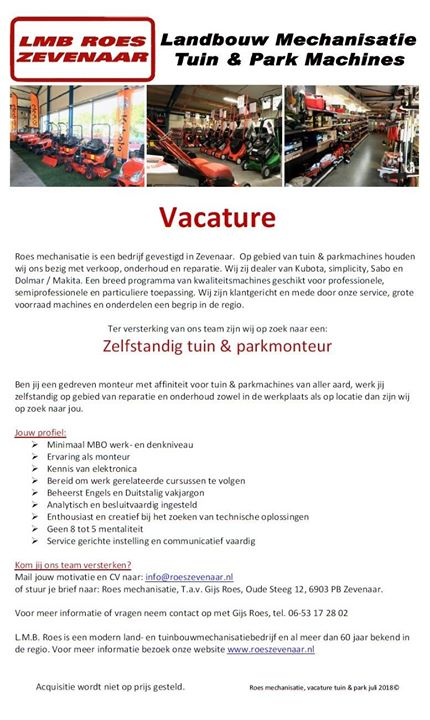 Technisch specialist Tuin & Park en