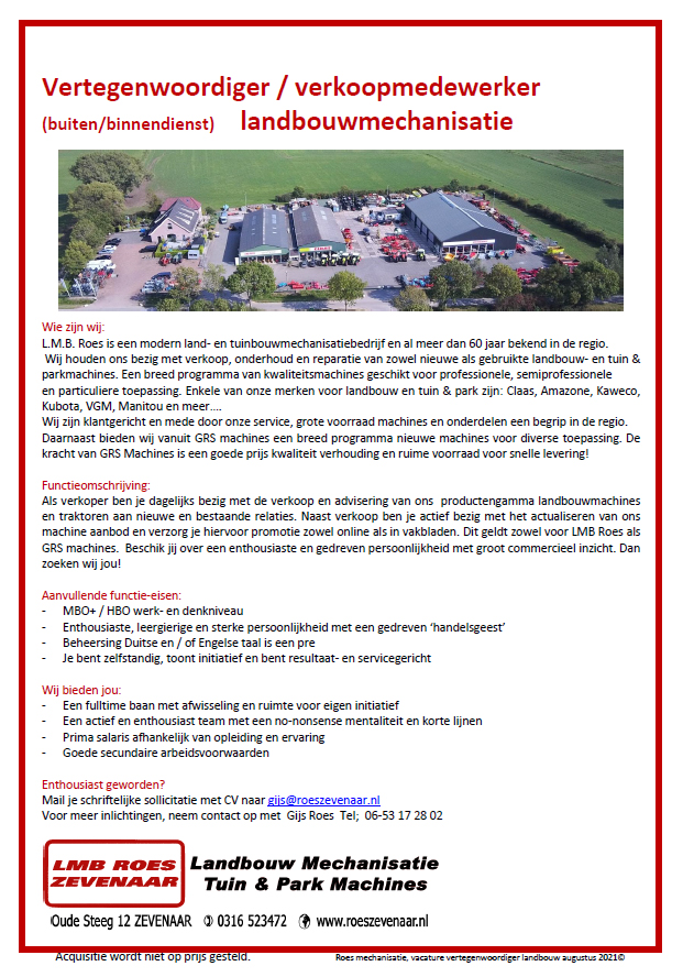 Roes Vacature groot 27-07-2021